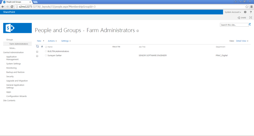 Add Service Account as Farm Administrator 2